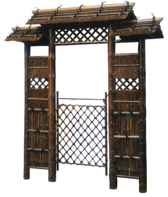 7 ft japanese style zen garden gate traditional for Traditional japanese furniture