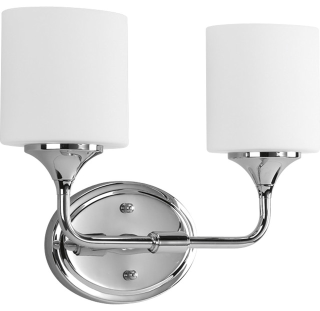 Contemporary Chrome Vanity Lights : Progress Lighting P2802-15 Lynzie Two Light Bath Fixture in Polished Chrome - Contemporary ...