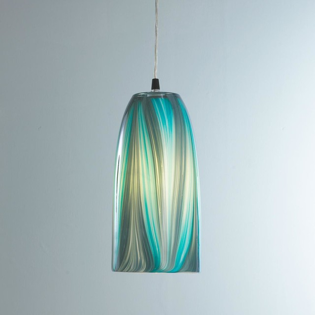 Turquoise Feather Glass Pendant Light Pendant Lighting