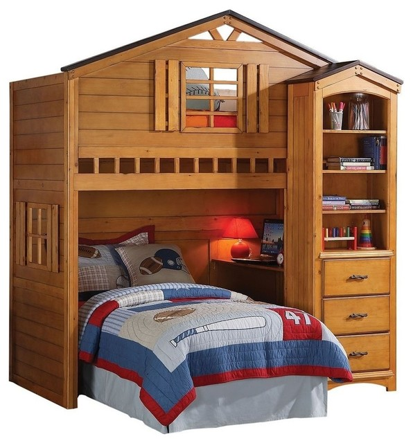 Rustic Oak Tree House Twin Bunk, Loft Bed, W/Desk, Shelf Cabinet Not Included - Contemporary ...