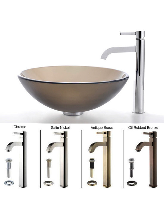 """Kraus - Kraus C-GV-103FR-12mm-1007CH Frosted Brown Glass Vessel Sink and Ramus Faucet - """"Add a touch of elegance to your bathroom with a glass sink combo from Kraus"""