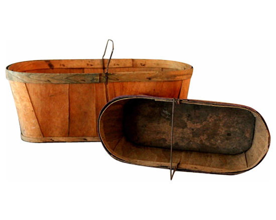 Rustic Wooden Berry Baskets - Set of two, vintage, wooden berry picking baskets. Right off the farm, these charming pieces come well worn and full of character.