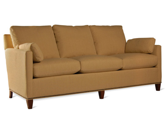 "Francisco Metro Sofa - The Francisco Metro II Sofa is a modestly scaled, 74"" version of our popular four-legged and swivel chair Francisco series. Like its single-seat brethren,this sofa out-sits most sofas twice its size. Saddle stitching overall contributes to its very clean profile. Optional nailheads (as shown). Ottoman available."