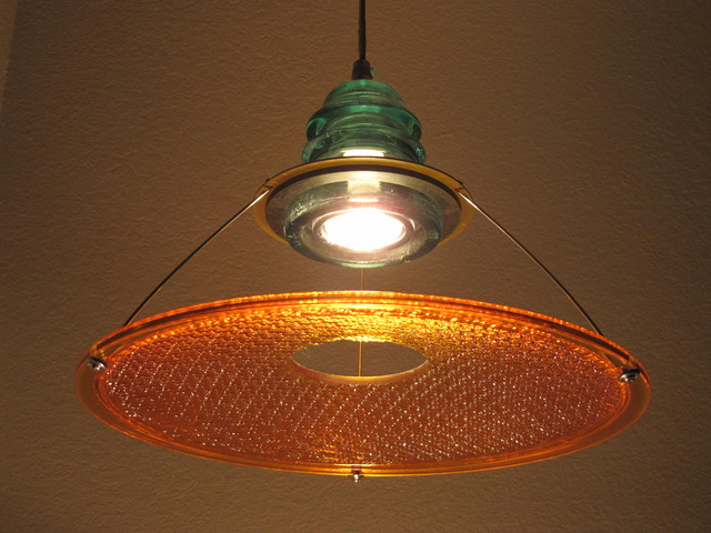 "Insulator light w/ 12"" Suspended Trafficlight Lens - Caution Yellow pendant-lighting"