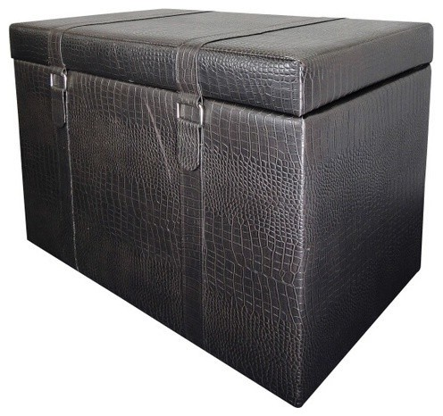 Espresso Faux Animal Print Upholstered Storage Ottoman with 2 Buckle Look contemporary-footstools-and-ottomans