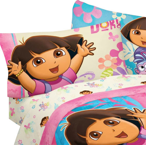 3pc dora the explorer exploring together twin bed sheet