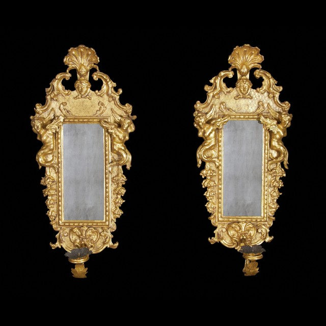 Pair of Italian Baroque Gilt Wood Sconce Mirrors - traditional ...