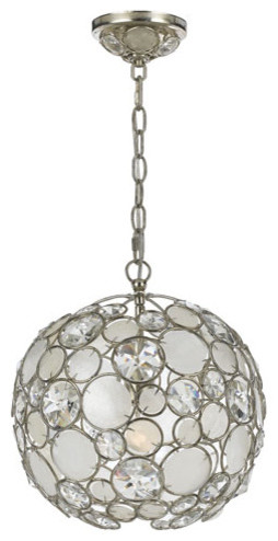 Palla Antique Silver One-Light Pendant with Natural White Capiz Shell and Hand C contemporary-ceiling-lighting