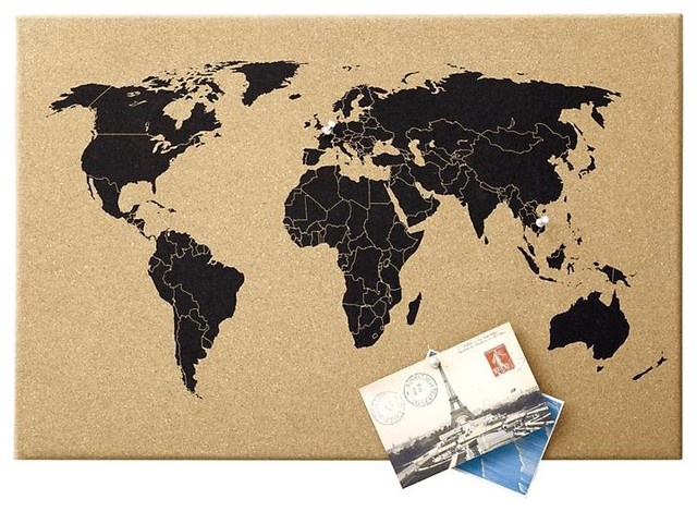 World Map Corkboard contemporary bulletin board
