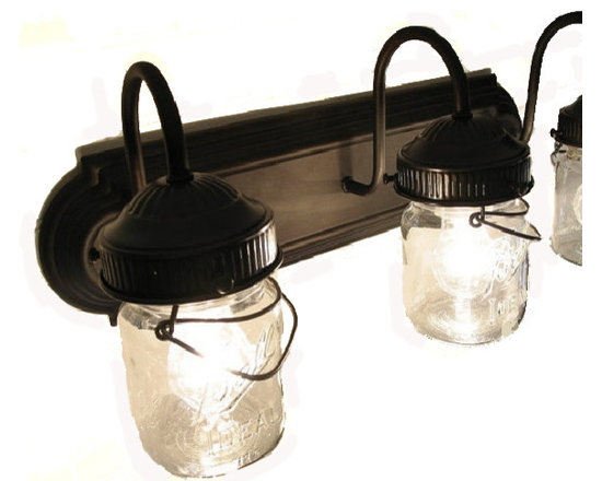 n/a - Bathroom Vanity Bar Trio Light Fixture Of Pint Mason Jars, Oil Rubbed Bronze - The beautiful glow of the light through a trio of vintage clear pint canning jar from days gone by is wonderful. This sconce is so fun with its original bail wires and the raised designs. Each jar carries its own history and can vary in 'age' marks, brand, graphics and more.