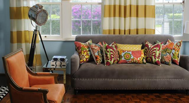 decorative pillows striped linen drape eclectic