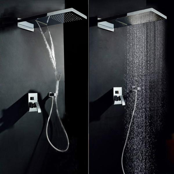 Luxury Waterfall Rain Shower Head & Handshower Set modern-showerheads ...