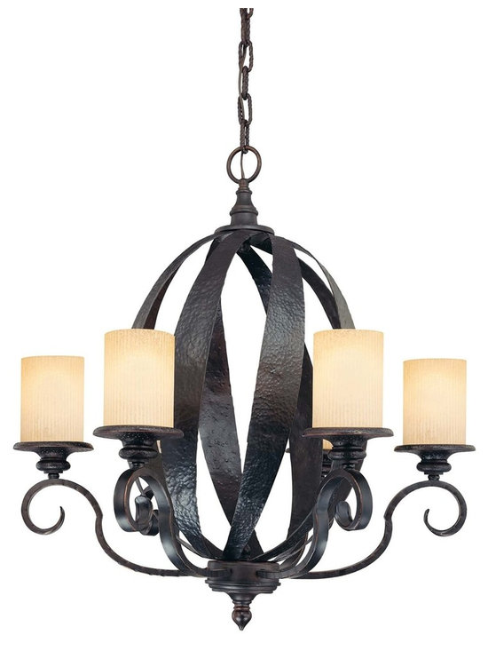 Carmel 6 Light Chandelier - This strong family from Karyl Pierce Paxton feature crisscrossed wide iron strapping, hammered for a rustic appearance. Hand forged with quality craftsmanship and finished in Slate, Carmel was crafted to impress.