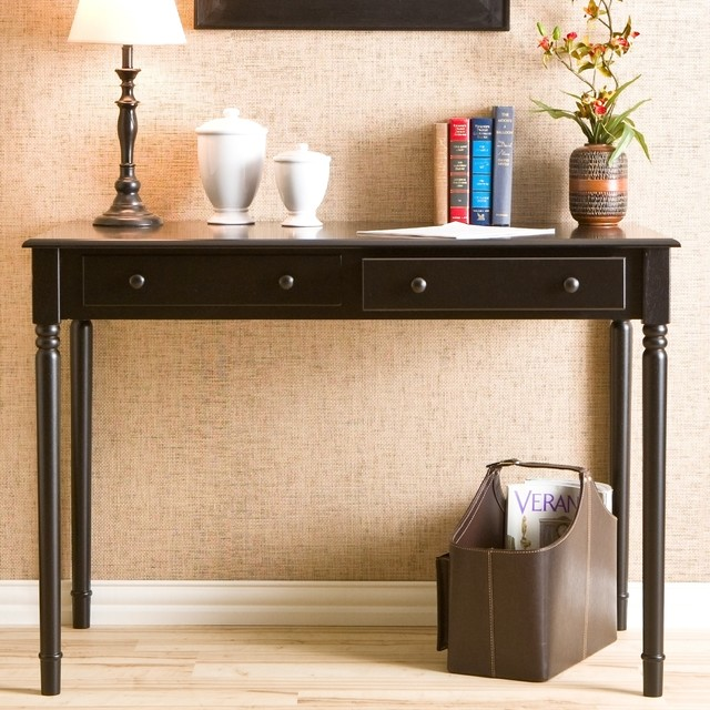 Highland Black 2-drawer Desk contemporary-desks-and-hutches
