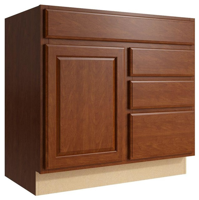 Cardell Cabinets Salvo 36 In W X 34 In H Vanity Cabinet Only In Nutmeg Brown Contemporary