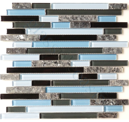 sky random bricks blue backsplash glossy glass and stone