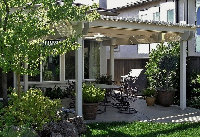 painted wood patio cover