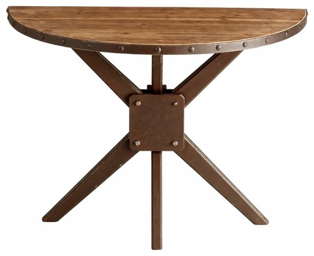Rustic Wood and Iron Half Round Console Table - Transitional - Console Tables