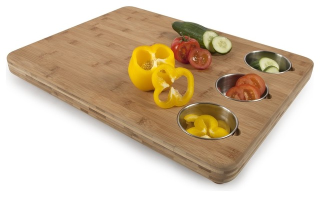 Pro chef bamboo butchers block with 3 prep bowls cutting boards new york by core bamboo - Cutting board with prep bowls ...