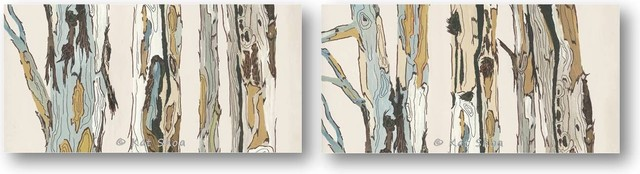 VERY LARGE SET tree Painting art print white neutral pastels blue green transitional-artwork