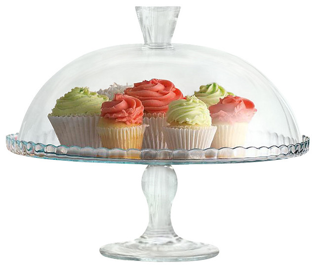 Sweet Glass Cake Plate with Dome traditional-serveware