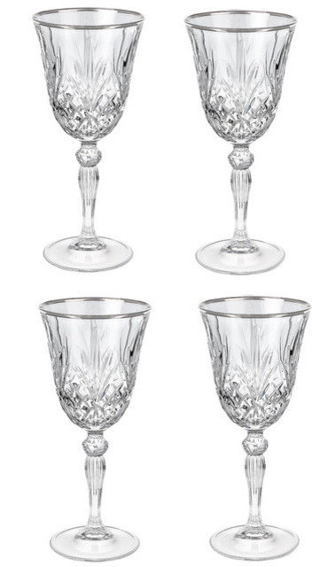 Reagan Collection Crystal Red Wine Glass With Silver Band