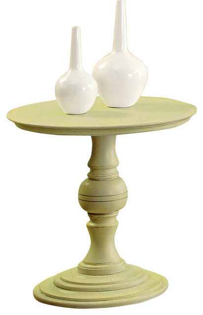 Round Pedestal End Table In Seagrass Green Transitional Side Tables