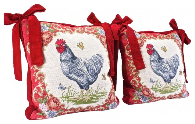 Eclectic Mix Of Pillows : Velvet Rooster Pillow - Eclectic - Decorative Pillows - new york - by Second Shout Out