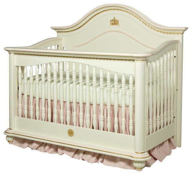 Serafina Crib in Linen with Pink and Gold Gilding traditional-cribs