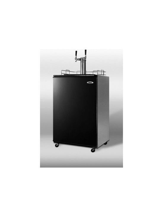 "Summit - SBC490-TWIN 24"" 6.4 cu.ft. Freestanding Full Keg Beer Dispenser with Automatic D - Create your own pub at home with SUMMIT39s SBC490TWIN a full-sized portable beer dispenser designed for freestanding use Double the pleasure with SUMMIT39s dual tap system that lets you serve two types of your favorite beer We include a CO2 tank and ..."