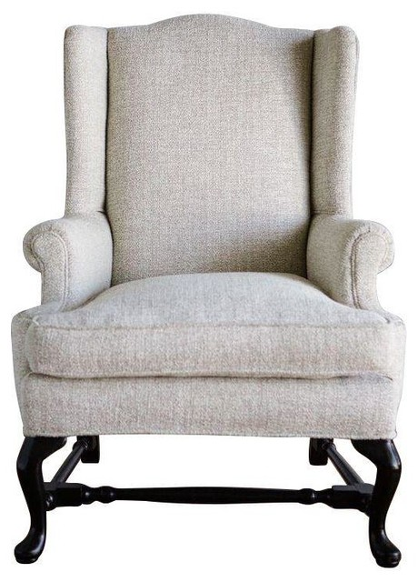 Ivory & Gold Metallic Wingback Chair Transitional