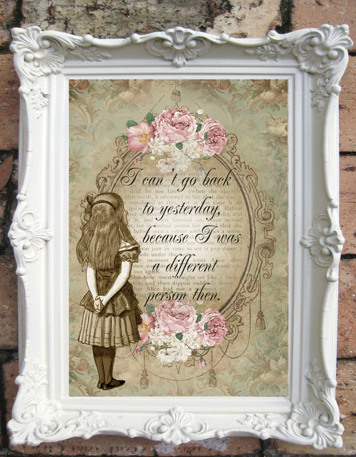 Alice in wonderland quote art print shabby chic decor for Shabby chic wall art