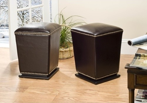 Mason Bi-cast Leather Ottoman in Brown (Set of 2) modern-footstools-and-ottomans
