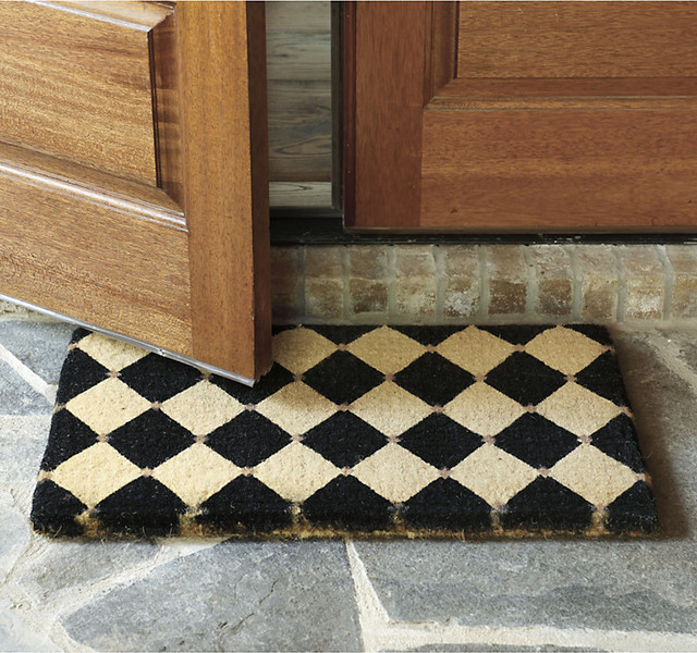 French court coir mat black large traditional for Designer front door mats