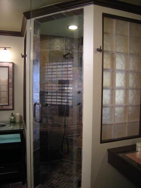 Glass Block Shower Wall Insert Contemporary By Mike Foti