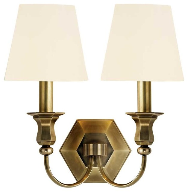 Hudson Valley Charlotte D-2 Light Wall Sconce in Aged Brass transitional-wall-lighting