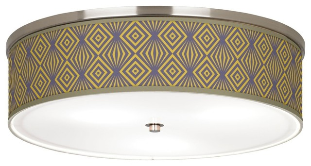 """Asian Deco Revival Giclee Nickel 20 1/4"""" Wide Ceiling Light contemporary-flush-mount-ceiling-lighting"""