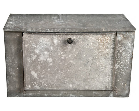 Galvanized Metal Desktop - Vintage hand made galvanized desk organizer with hinged door and one removable shelf.