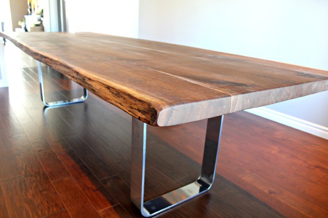 RECLAIMED LIVE EDGE WALNUT DINING TABLE WITH CHROME BASE
