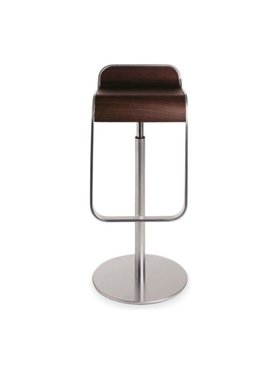 LaPalma - Lem Piston Barstool Dark Walnut - Our authentic Lem stool is designed by Shin and Tomoko Azumi, and Made in Italy by LaPalma. The popular LEM piston stool effortlessly blends sculptured form with convenient swivel and height adjustable functions. Its highly original shape offers an uncluttered atmosphere when several stools are grouped together.
