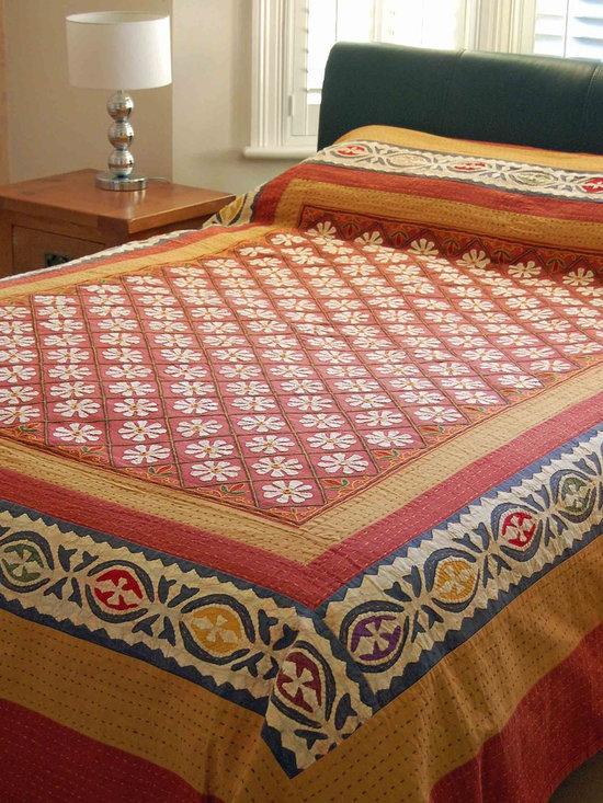 Flower Applique Indian bedspread -