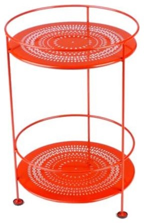 Fermob double top small bistro side table with perforated for Orange outdoor side table