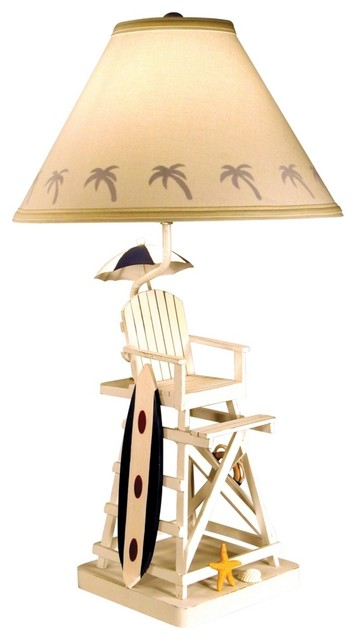 coastal lifeguard chair and surfboard table lamp tropical table lamps. Black Bedroom Furniture Sets. Home Design Ideas
