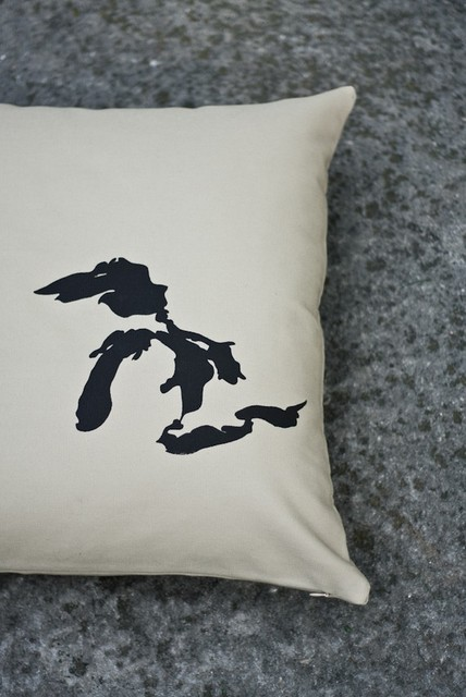 Great Lakes Pillow Cover in Tan by Nicole Tarasick modern-decorative-pillows