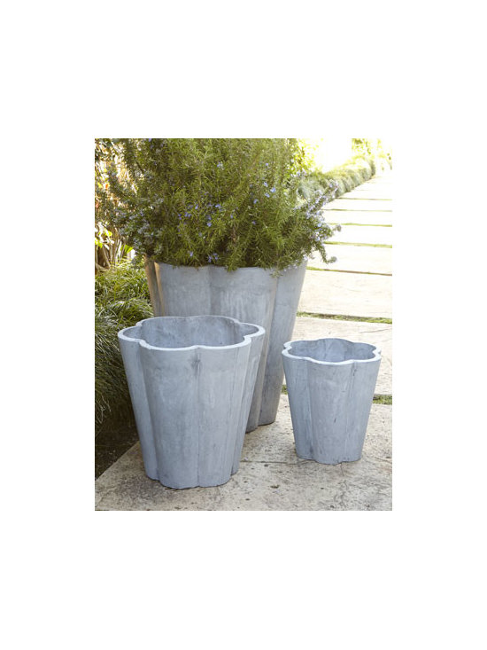 Horchow - Three Scallop Planters - Lovely scalloped shapes and a marbleized finish make these planters a charming choice for displaying florals and greenery in groupings or as individual punctuation points around a patio or gracing a favorite garden nook. Handcrafted of magnesia oxide/f...