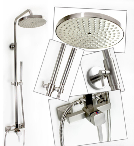 Brushed Nickel Rain Shower Faucet Set contemporary showers