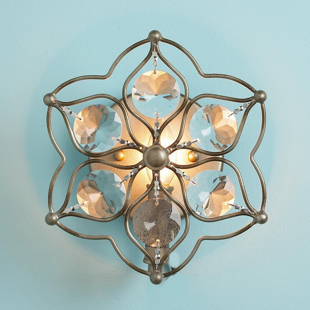 Crystal Flower Sconce - Wall Sconces - by Shades of Light