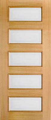Clear Glass Interior Door, Oak 5 Pane Moulded contemporary-interior-doors