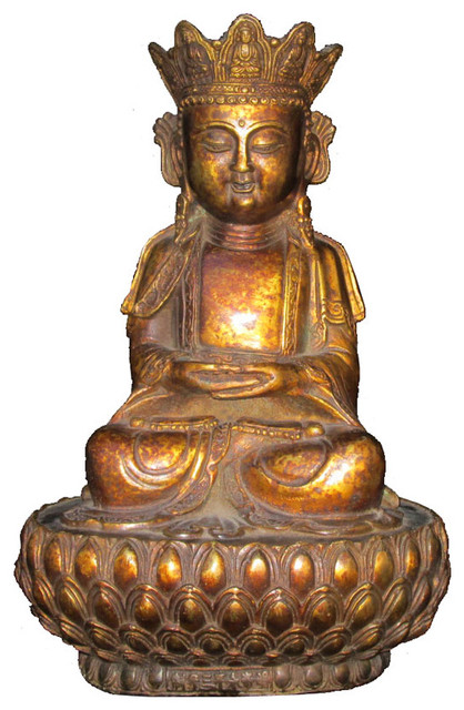 Unique Chinese Antique Brass Lotus Stand Sitting Buddha Statue - Asian ...