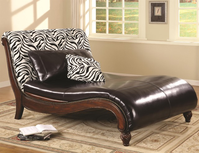 accent seating zebra animal print chaise lounge by coaster
